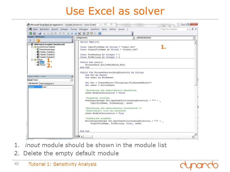Use Excel as solver inout module should be shown in the module list