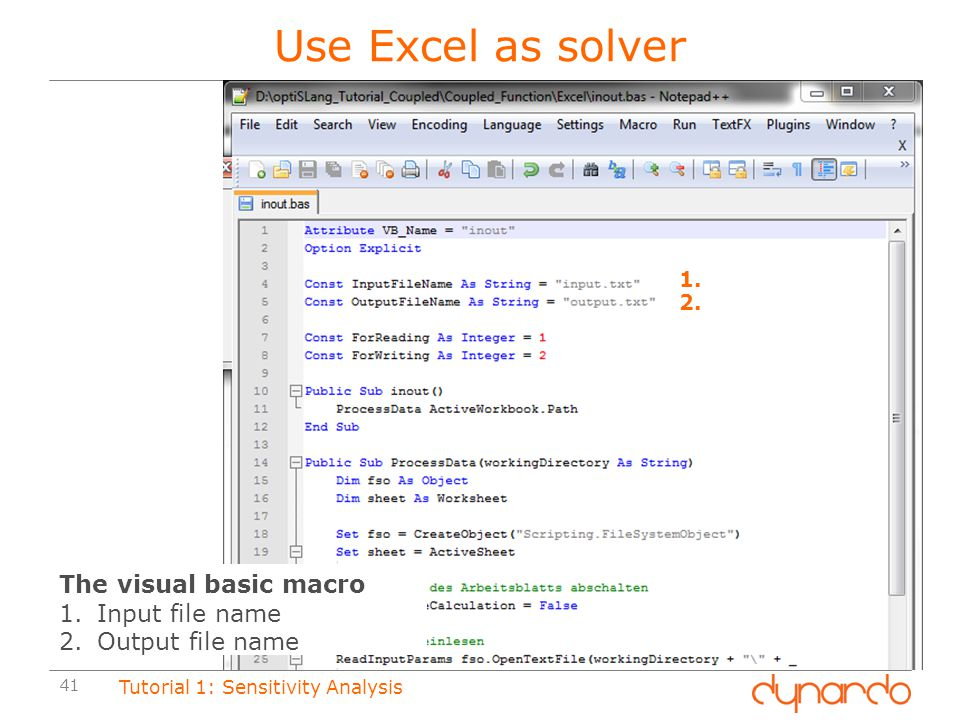 Use Excel as solver The visual basic macro Input file name