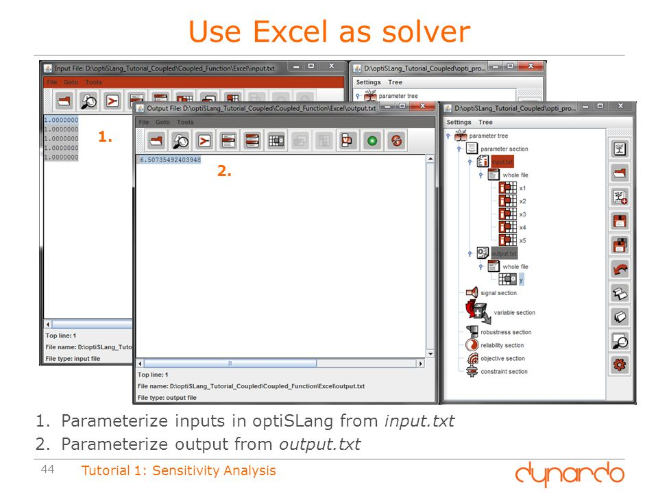 Use Excel as solver Parameterize inputs in optiSLang from input.txt