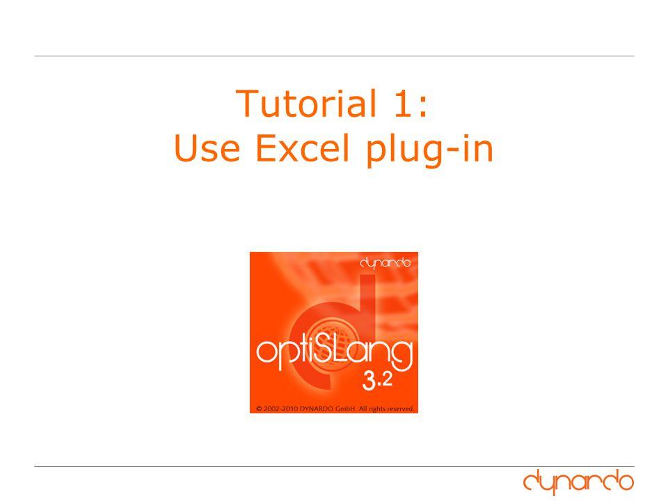 Tutorial 1: Use Excel plug-in