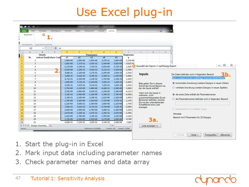 Use Excel plug-in Start the plug-in in Excel