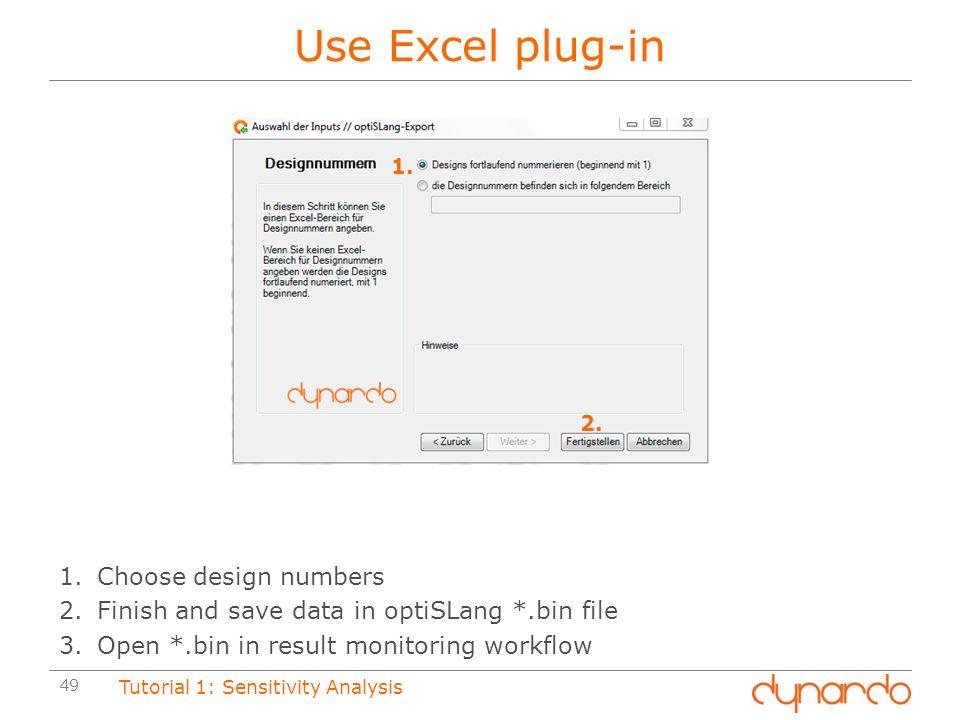 Use Excel plug-in Choose design numbers