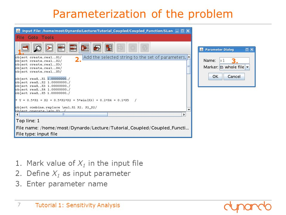 Parameterization of the problem