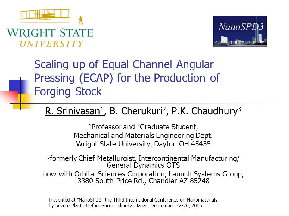 Scaling up of Equal Channel Angular Pressing (ECAP) for the Production of Forging Stock