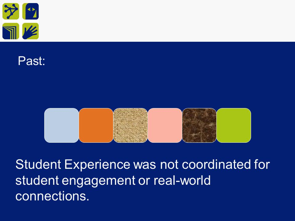 Past: Student Experience was not coordinated for student engagement or real-world connections.