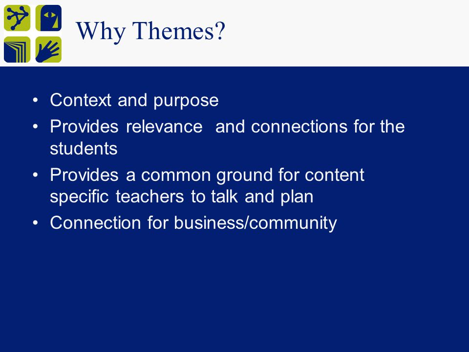 Why Themes Context and purpose