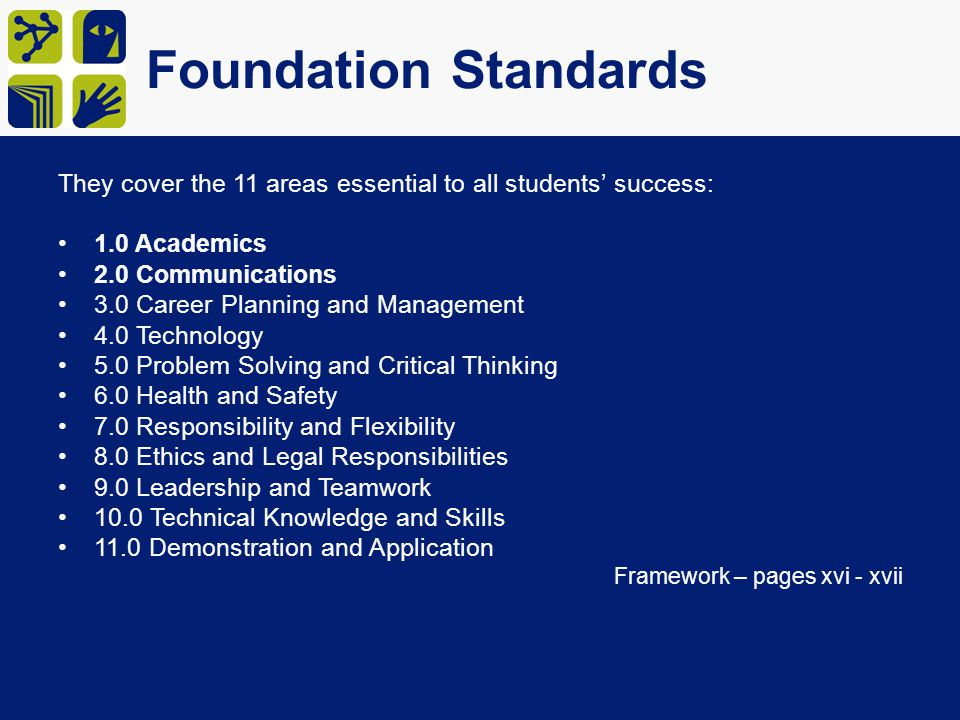 Foundation Standards They cover the 11 areas essential to all students' success: 1.0 Academics. 2.0 Communications.