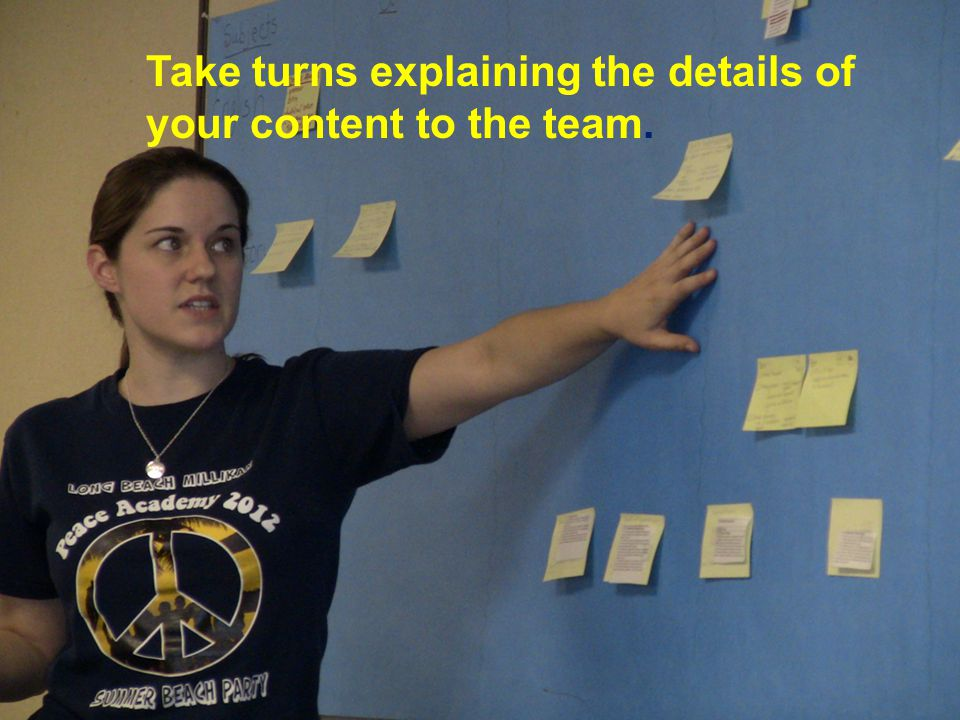 Take turns explaining the details of your content to the team.