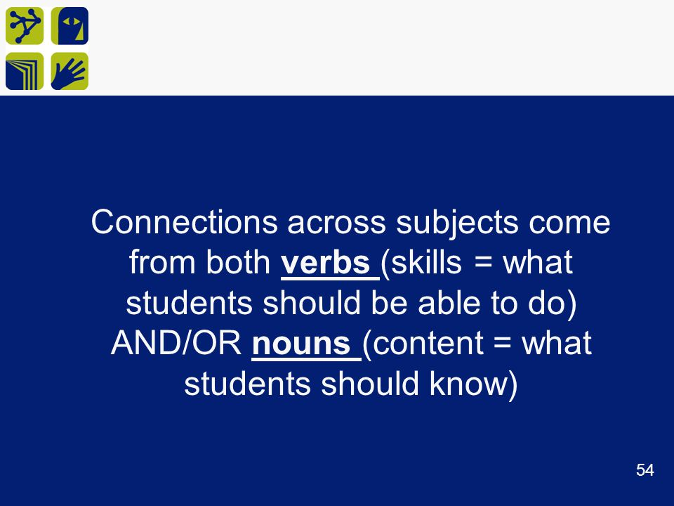 Connections across subjects come from both verbs (skills = what students should be able to do) AND/OR nouns (content = what students should know)