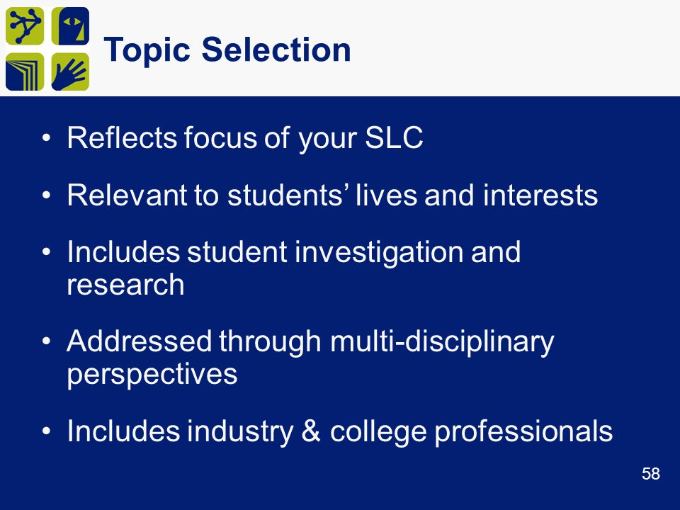 Topic Selection Reflects focus of your SLC