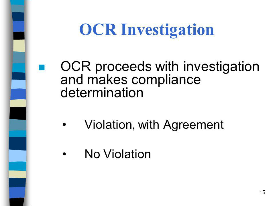 OCR Investigation OCR proceeds with investigation and makes compliance determination. Violation, with Agreement.