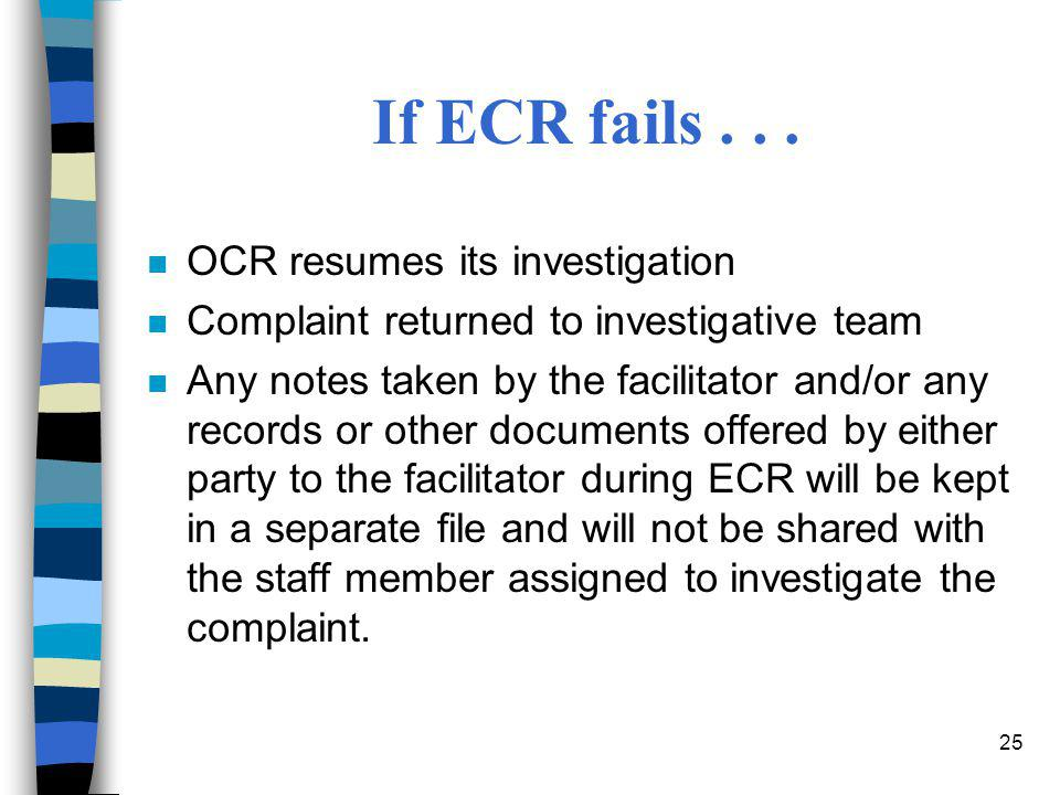 If ECR fails . . . OCR resumes its investigation