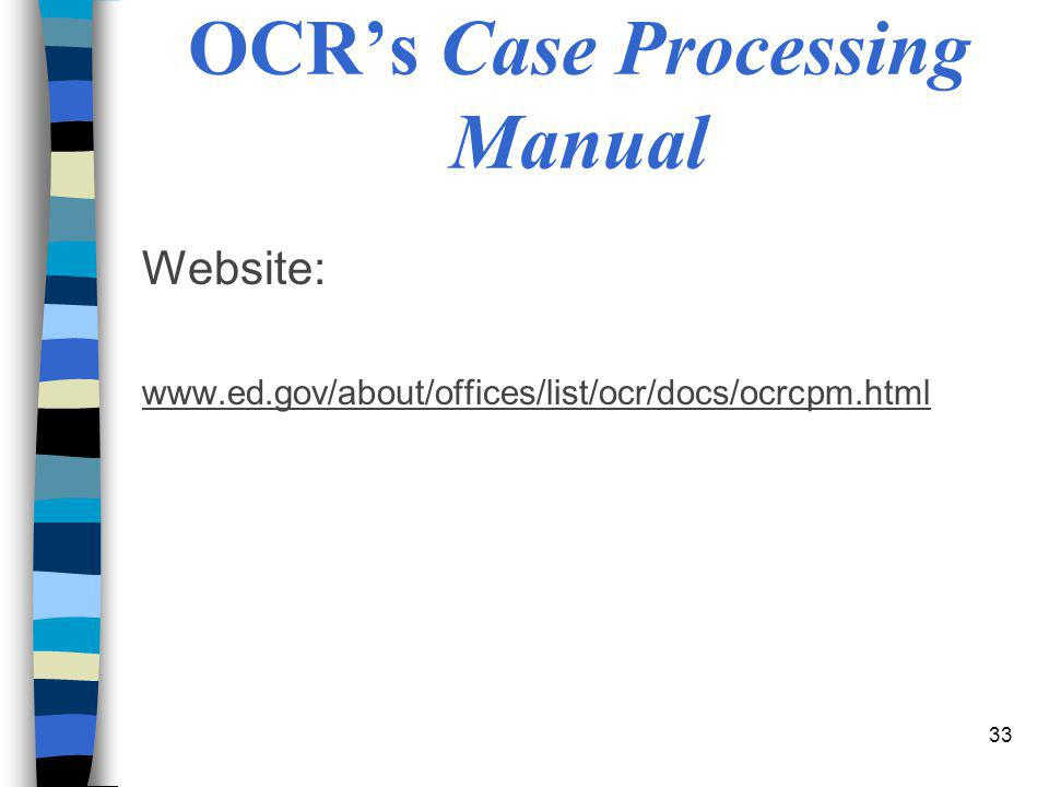 OCR's Case Processing Manual