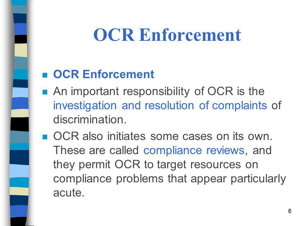 OCR Enforcement OCR Enforcement