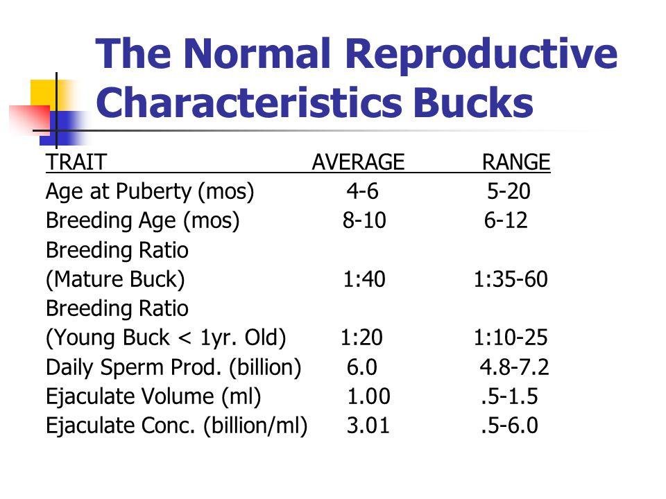 The Normal Reproductive Characteristics Bucks