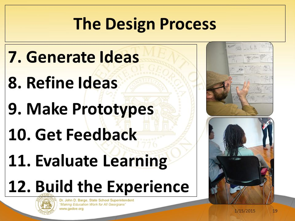 The Design Process 7. Generate Ideas 8. Refine Ideas 9. Make Prototypes 10. Get Feedback 11. Evaluate Learning 12. Build the Experience