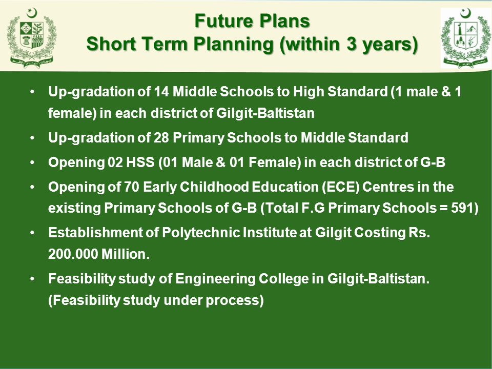 Future Plans Short Term Planning (within 3 years)