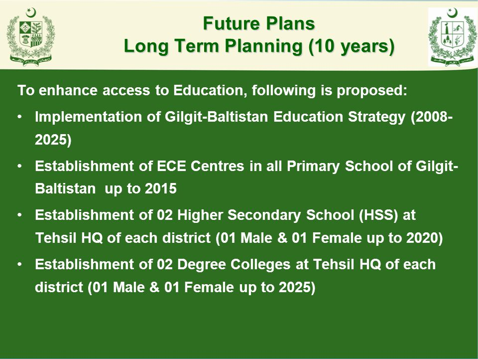 Future Plans Long Term Planning (10 years)