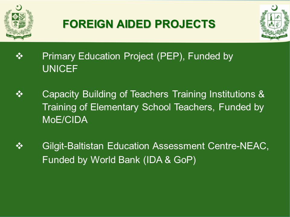 FOREIGN AIDED PROJECTS