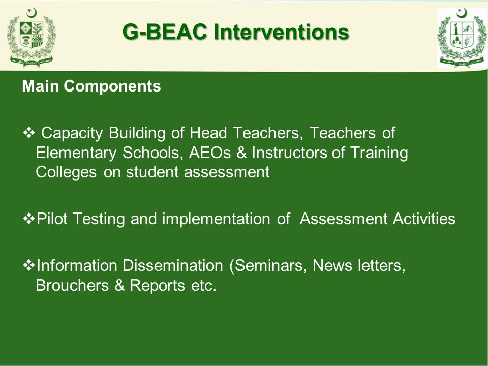 G-BEAC Interventions Main Components