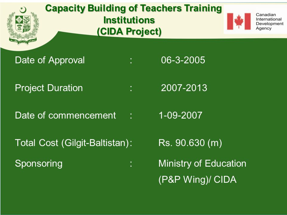 Capacity Building of Teachers Training Institutions (CIDA Project)