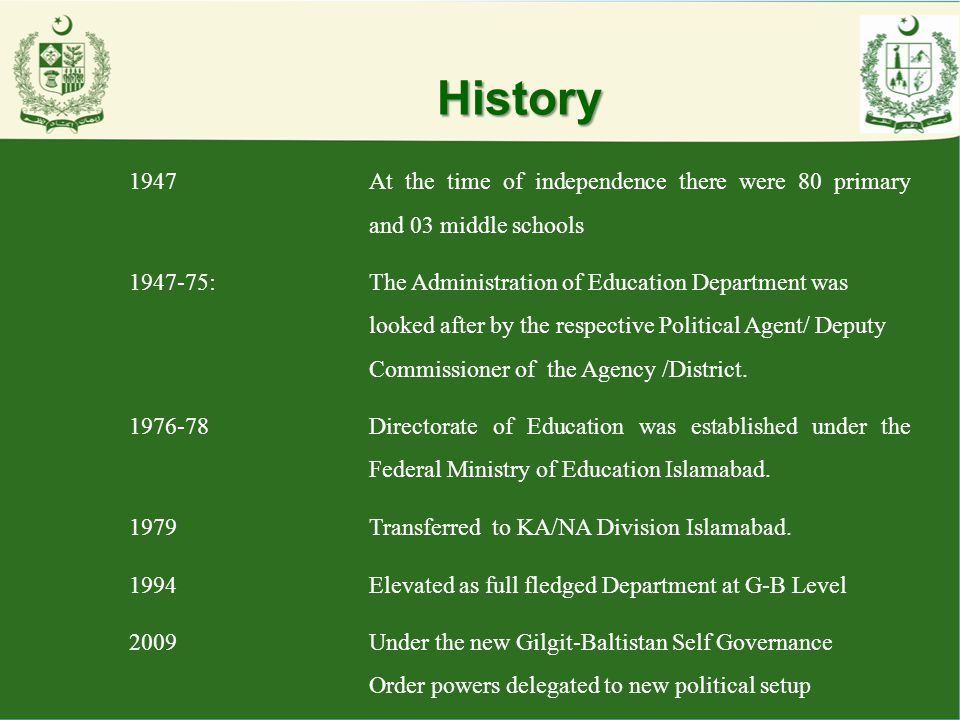 History 1947 At the time of independence there were 80 primary and 03 middle schools.