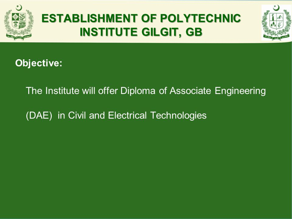 ESTABLISHMENT OF POLYTECHNIC INSTITUTE GILGIT, GB