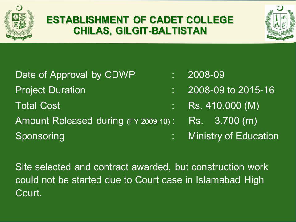 ESTABLISHMENT OF CADET COLLEGE CHILAS, GILGIT-BALTISTAN