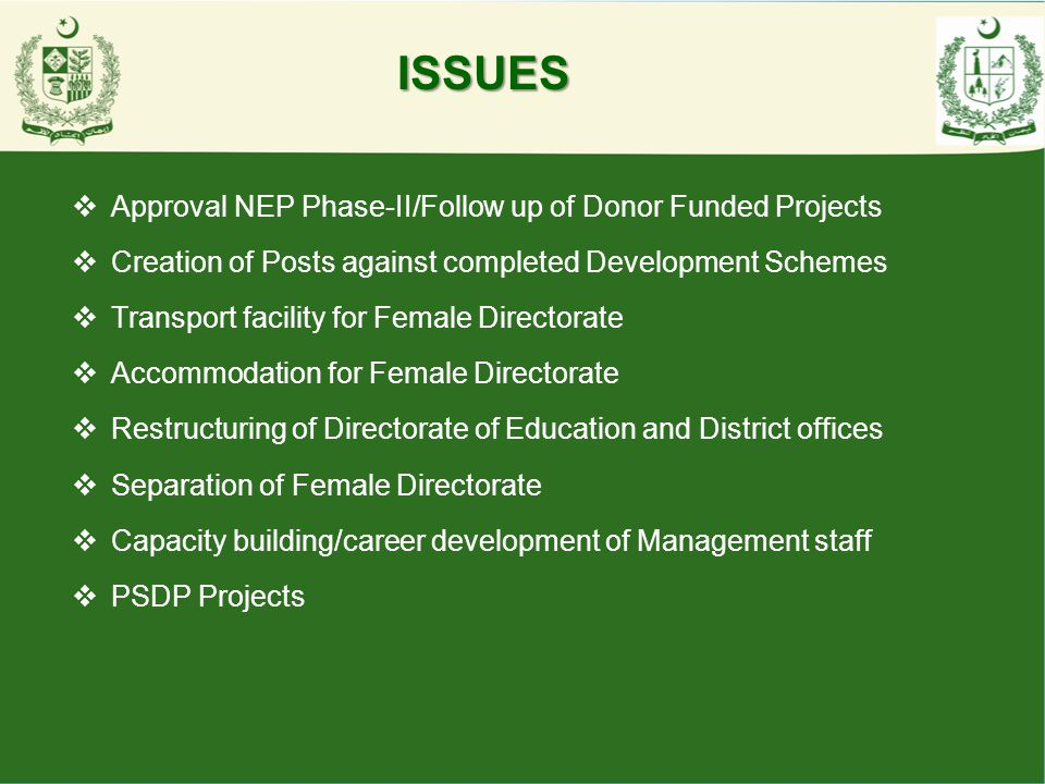 ISSUES Approval NEP Phase-II/Follow up of Donor Funded Projects