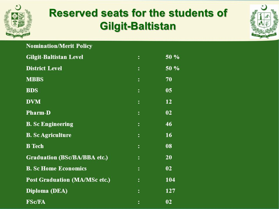 Reserved seats for the students of