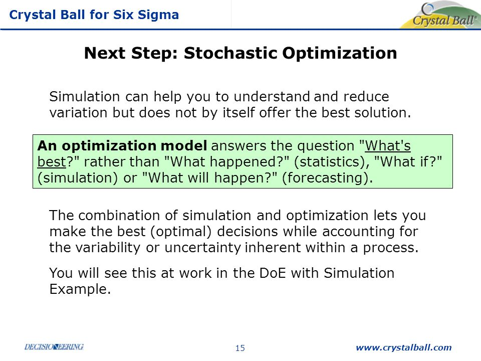 Next Step: Stochastic Optimization