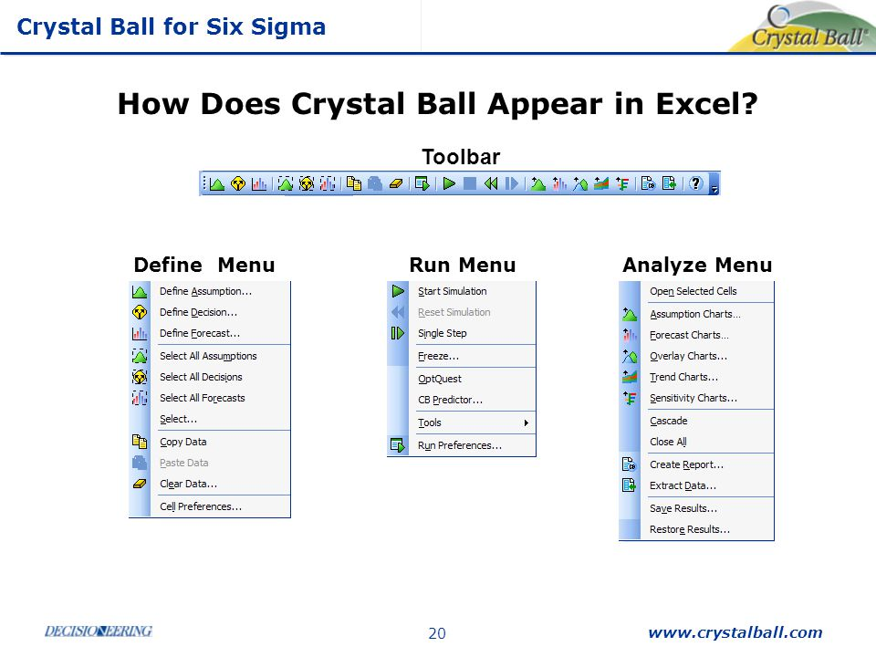 How Does Crystal Ball Appear in Excel