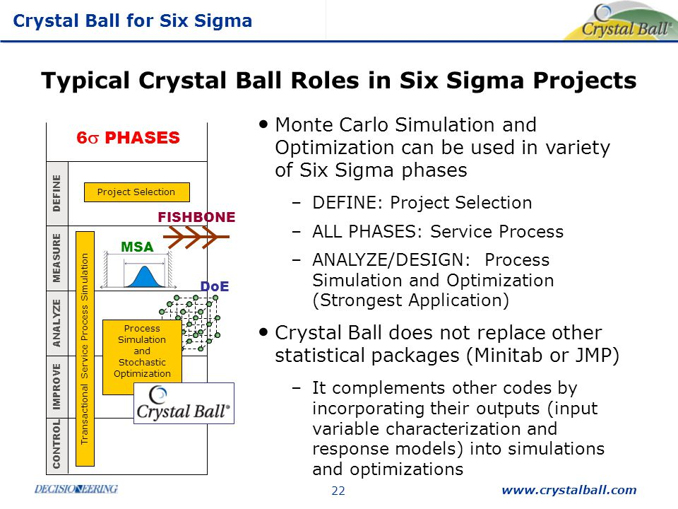 Typical Crystal Ball Roles in Six Sigma Projects