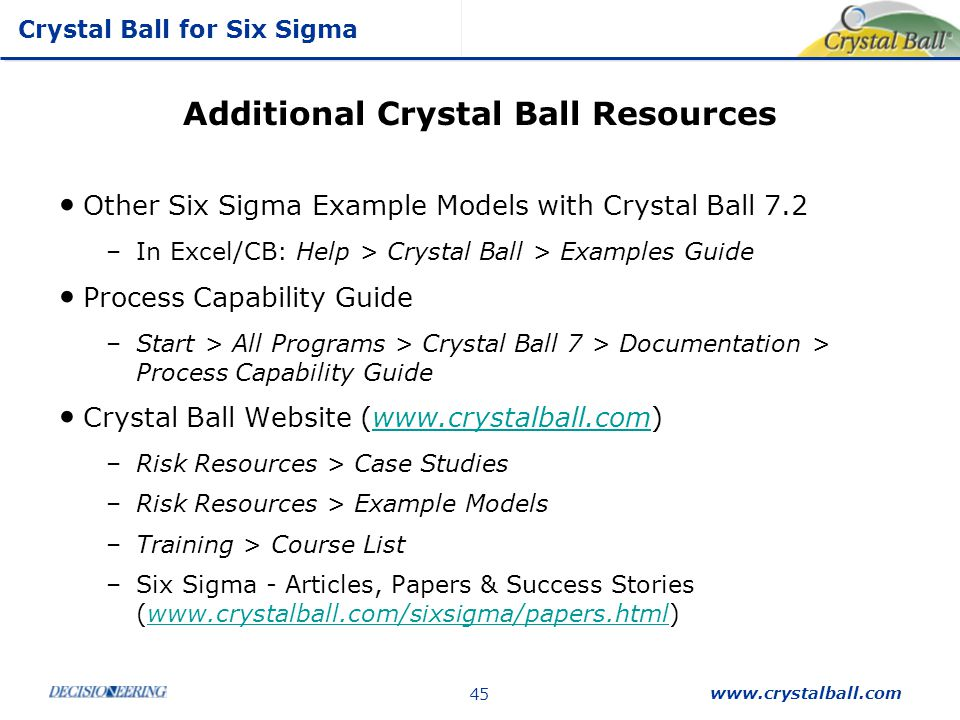 Additional Crystal Ball Resources