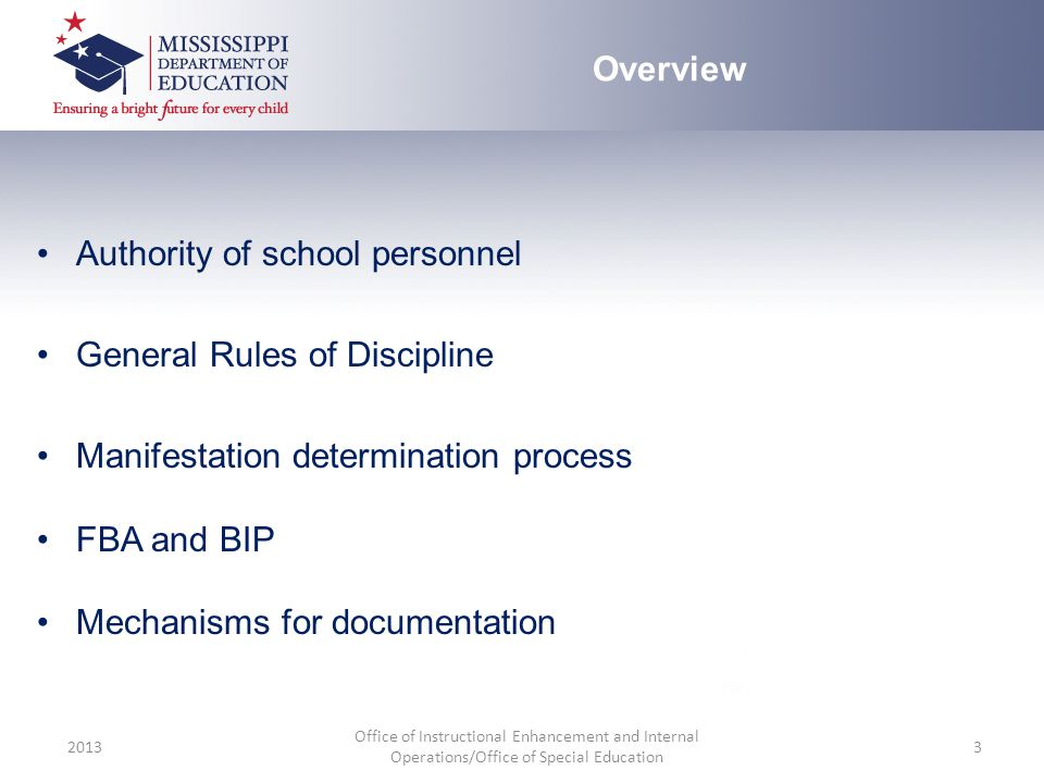 Authority of school personnel General Rules of Discipline