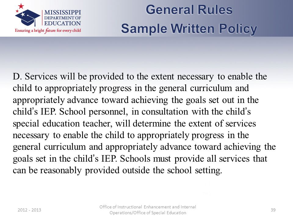 General Rules Sample Written Policy