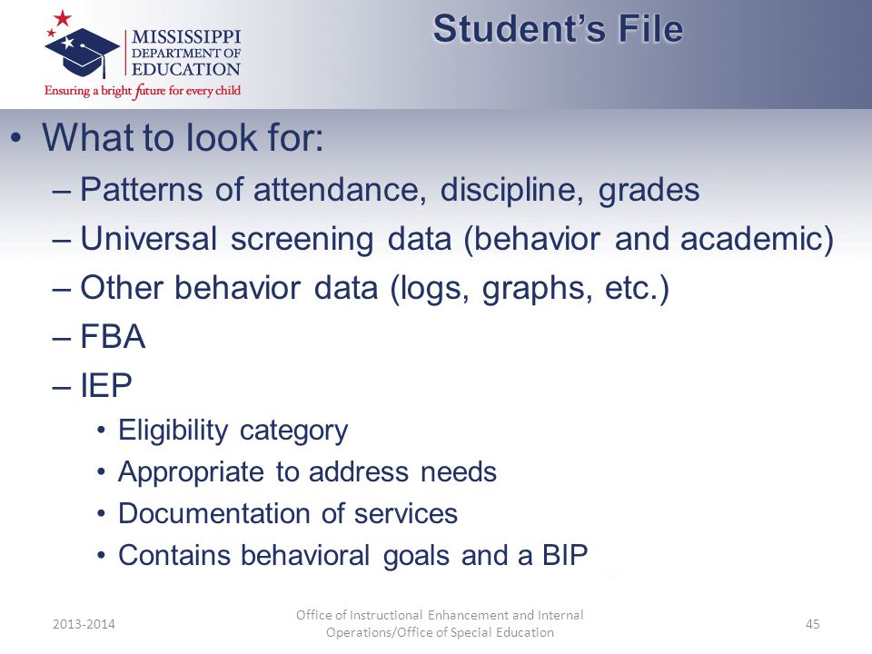 Student's File What to look for: