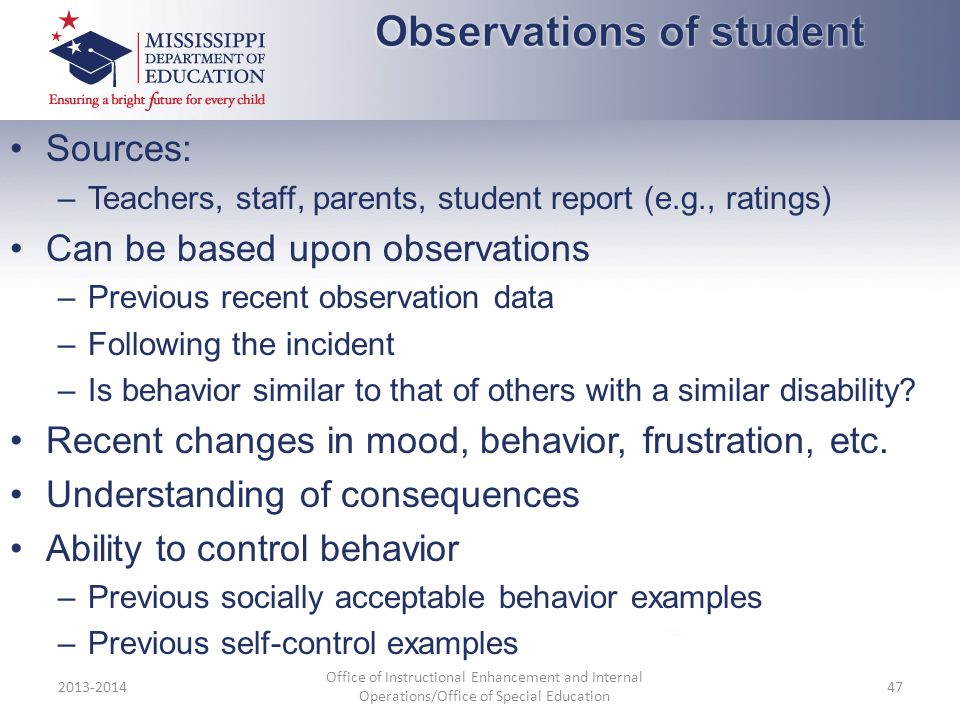Observations of student