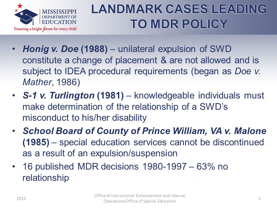 LANDMARK CASES LEADING TO MDR POLICY