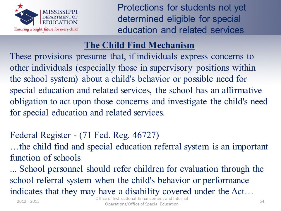 The Child Find Mechanism