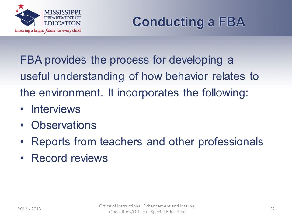 Conducting a FBA FBA provides the process for developing a