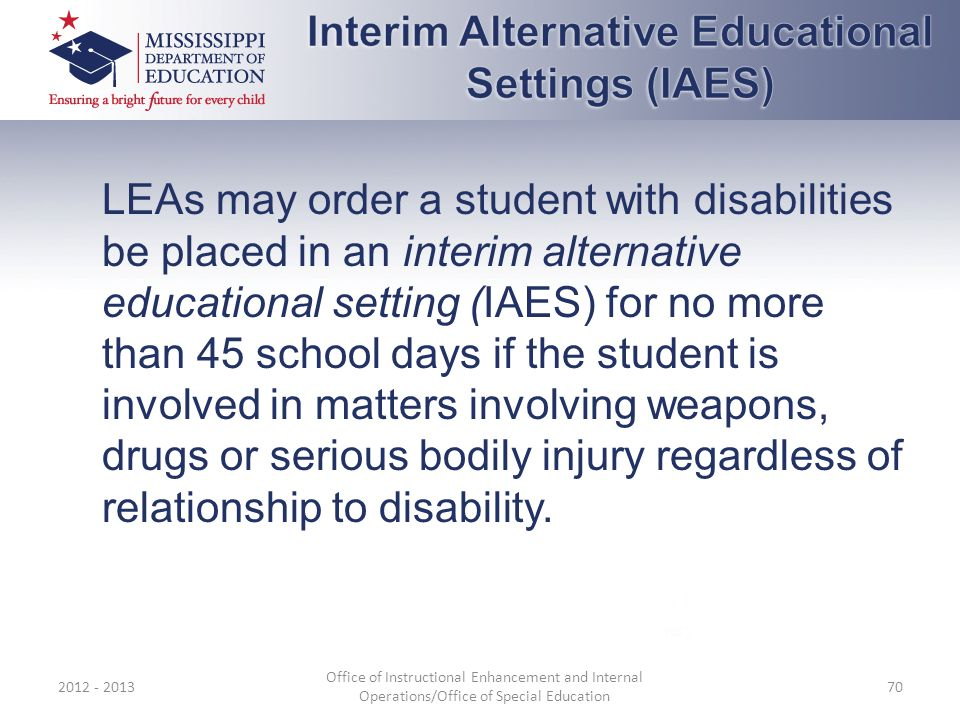 Interim Alternative Educational Settings (IAES)