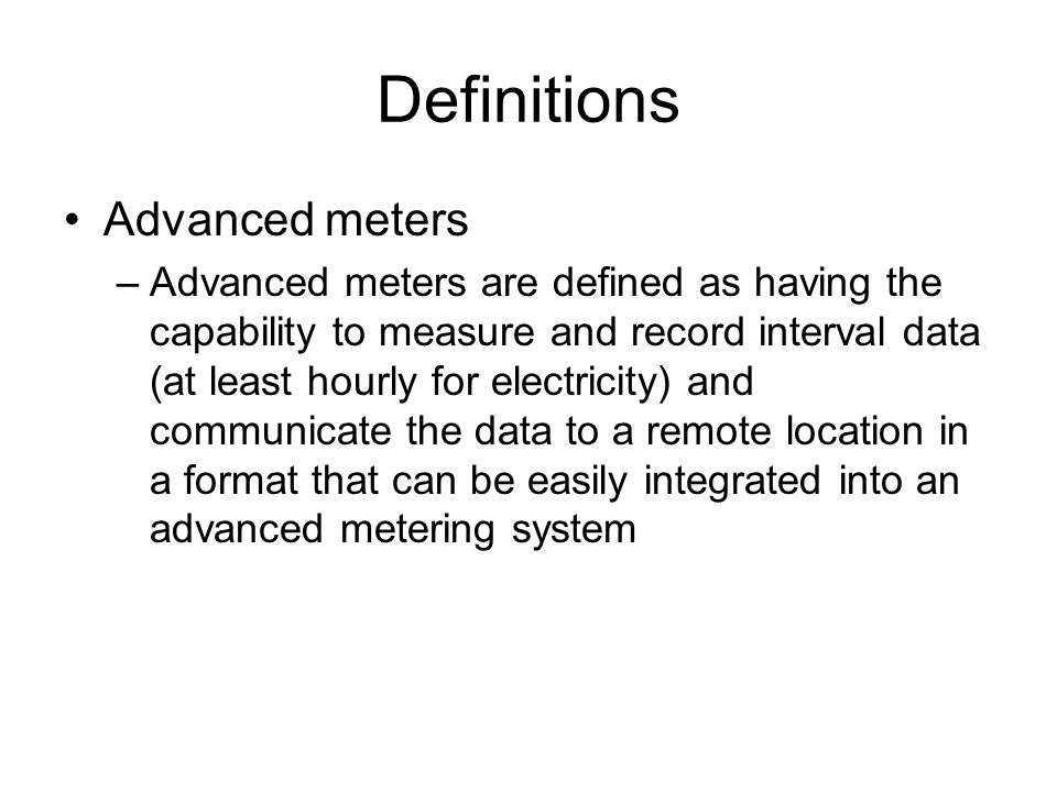 Definitions Advanced meters