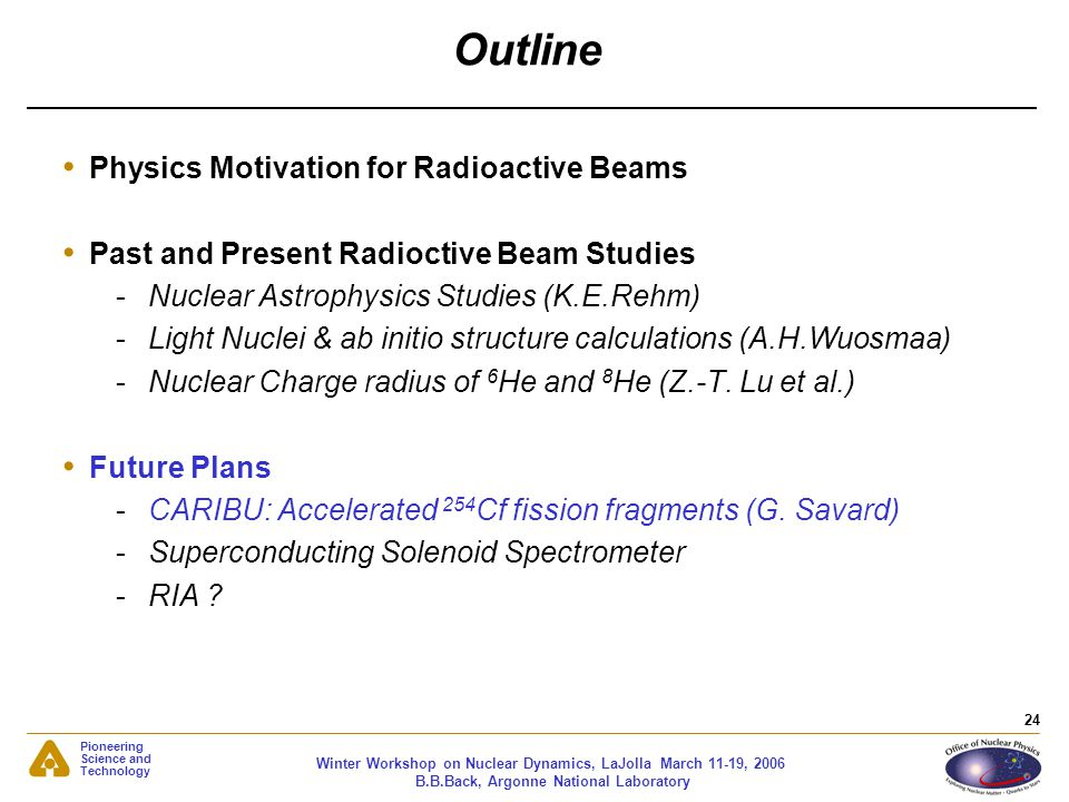 Outline Physics Motivation for Radioactive Beams