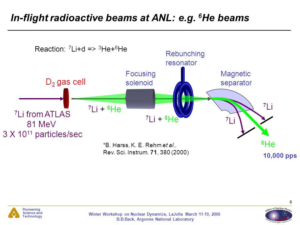In-flight radioactive beams at ANL: e.g. 6He beams