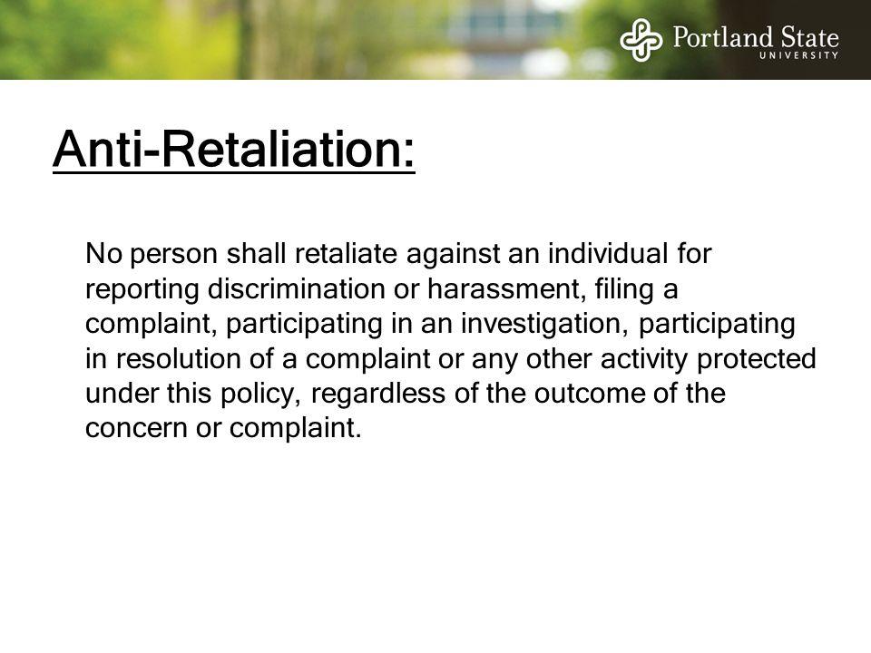 Anti-Retaliation: