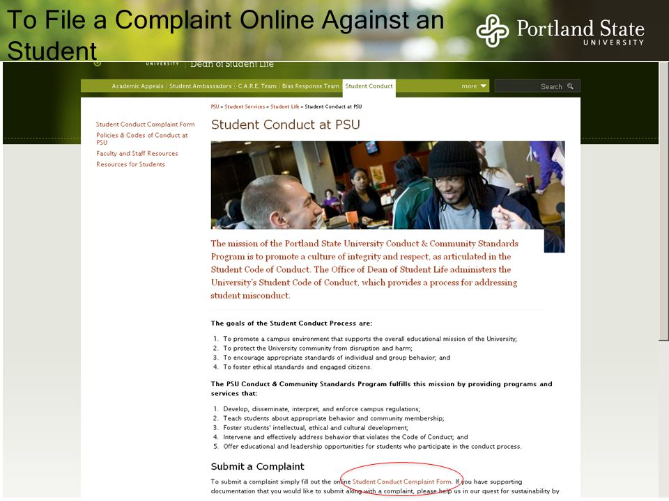 To File a Complaint Online Against an Student