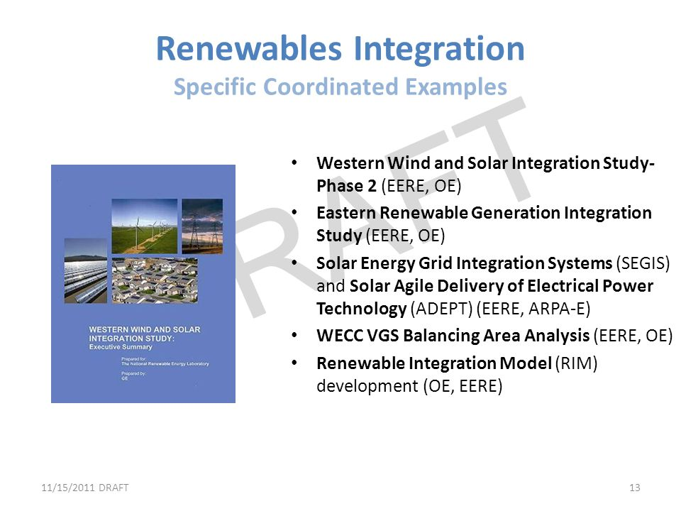 Renewables Integration Specific Coordinated Examples