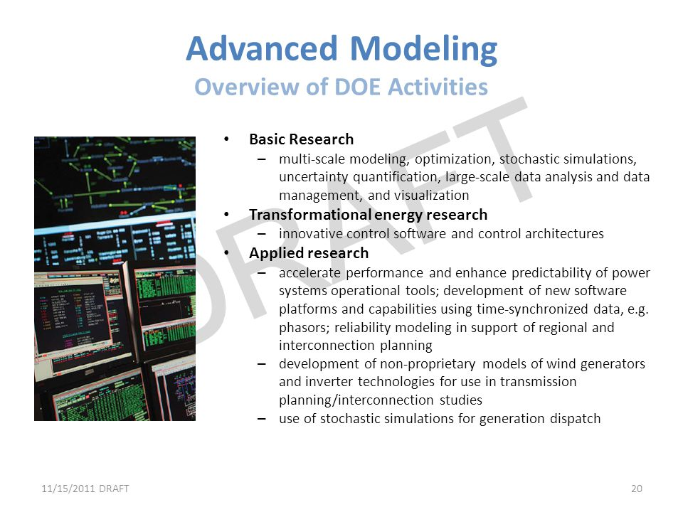Advanced Modeling Overview of DOE Activities
