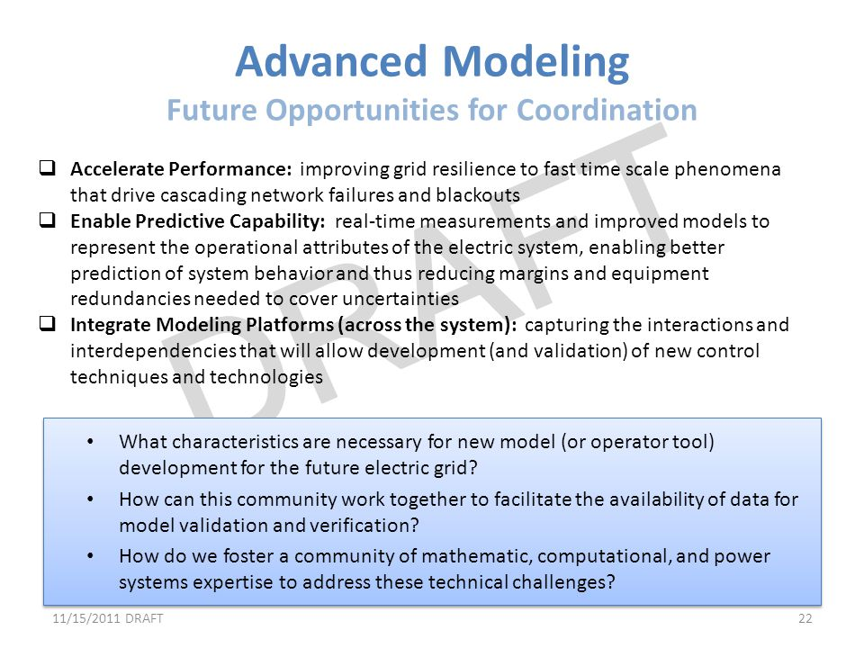 Advanced Modeling Future Opportunities for Coordination